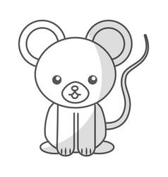 Cute shadow mouse cartoon vector