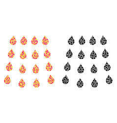 Dotted drops mosaic icons vector