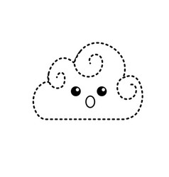 Dotted shape kawaii cute surprised cloud weather vector