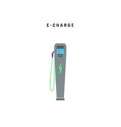 e-charge charging station for electric car green vector image