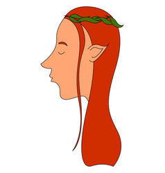 elf with red hair on white background vector image