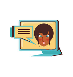 face woman black in computer monitor and speech vector image