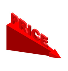 fall price red arrow stock market decline vector image