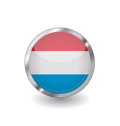 Flag luxembourg button with metal frame and vector