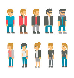 flat design teen students set vector image