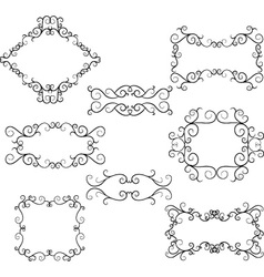 Flourish Swirl Border Frame Collection vector image