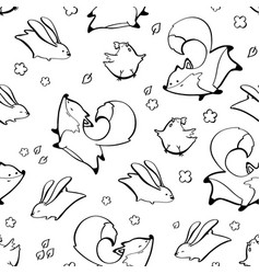 Fox rabbit chicken seamless pattern vector