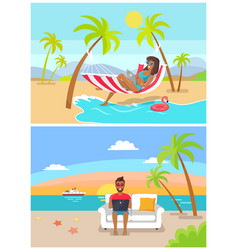 freelance by seaside set vector image