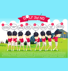 Golf swing instruction infographic vector