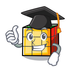 Graduation rubik cube character cartoon vector