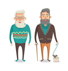 Grandparents walking set vector
