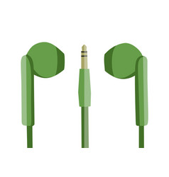green earphones flat design vector image