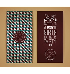 happy birthday invitation vintage retro background vector image
