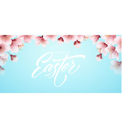 happy easter handwriting lettering on background vector image