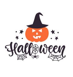 Happy halloween banner with a pumpkin vector