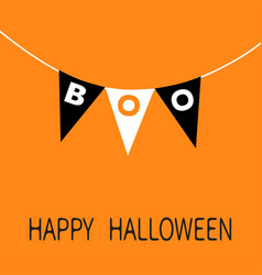 Happy halloween card bunting flags pack boo vector