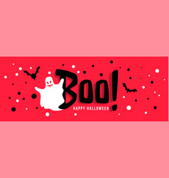 Happy halloween celebration banner with white vector