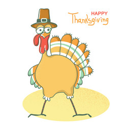 happy thanksgiving day turkey bird with pilgrim vector image