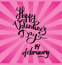 happy valentines day 14 february poster on pink vector image