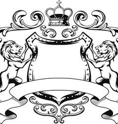 Heraldic lion shield crest silhouette vector