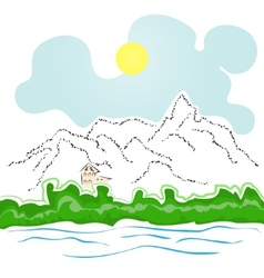 house by the river and mountains vector image