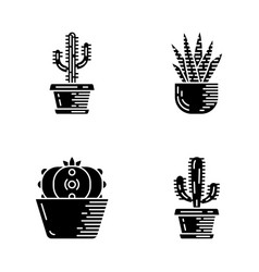 House cactus in pot glyph icons set vector