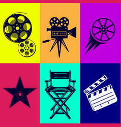 icons set movies camera star armchair film clapper vector image