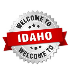 Idaho 3d silver badge with red ribbon vector