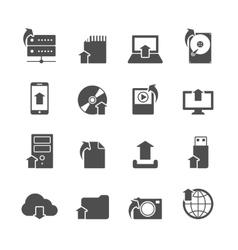 Internet upload symbols icons set vector image