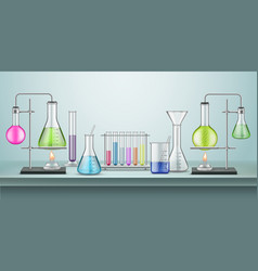 Laboratory flasks with pipes chemistry lab vector