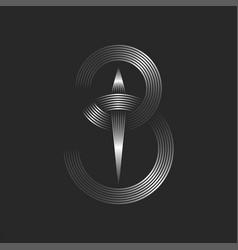Letter b logo monogram or 3 number logotype thin vector