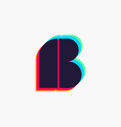 Letter b logo with stereo effect vector