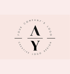 Letters ay a y logo set as a stamp or personal vector
