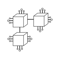 Line squares digital connections with circuits vector