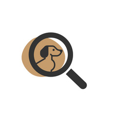 Magnifying glass looking for a dog isolated web vector