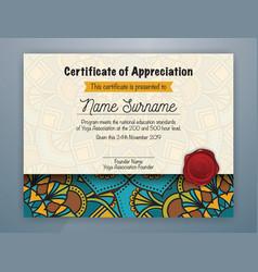 Mandala bordered certificate appreciation vector