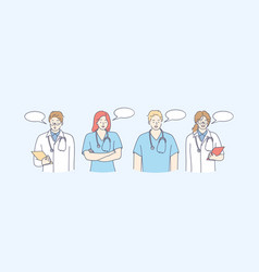 medical workers doctors communication concept vector image