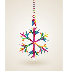 Merry Christmas snowflake multicolors hanging vector image vector image