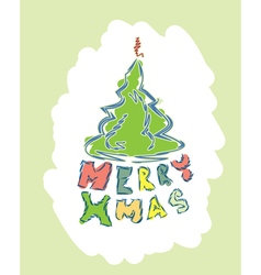 Merry christmas text with christmas tree vector