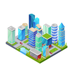 Modern downtown isometric 3d icon vector