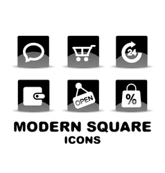 Modern glossy black square icon set vector