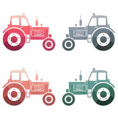 Multicolor tractor icon set vector