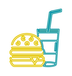 Neon hamburger and beverage in the cup fast food vector