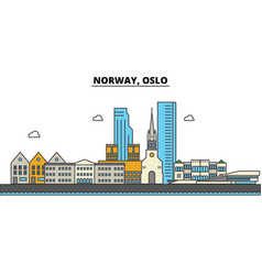 norway oslo city skyline architecture buildings vector image