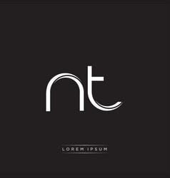 Nt initial letter split lowercase logo modern vector