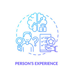 Person experience navy gradient concept icon vector