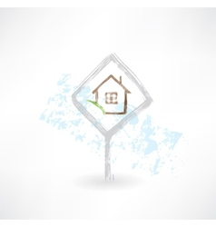 Plate house grunge icon vector