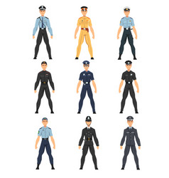 police officers set uniform of policemen of vector image