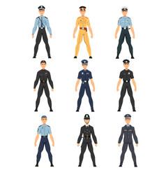police officers set uniform policemen of vector image