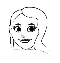 Pretty woman with big eyes icon image vector